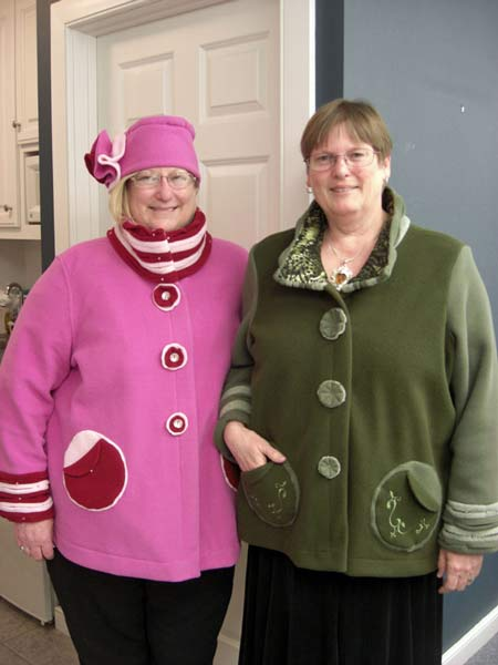 Sisters make jackets in Jane's sewing class