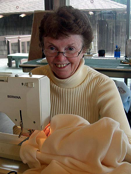 Liz with new Bernina on sewing retreat