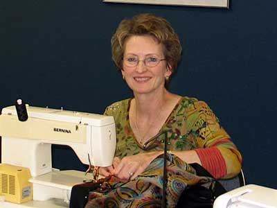 Student in a sewing workshop