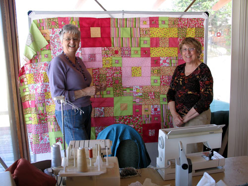 Betty made a quilt while on a sewing retreat